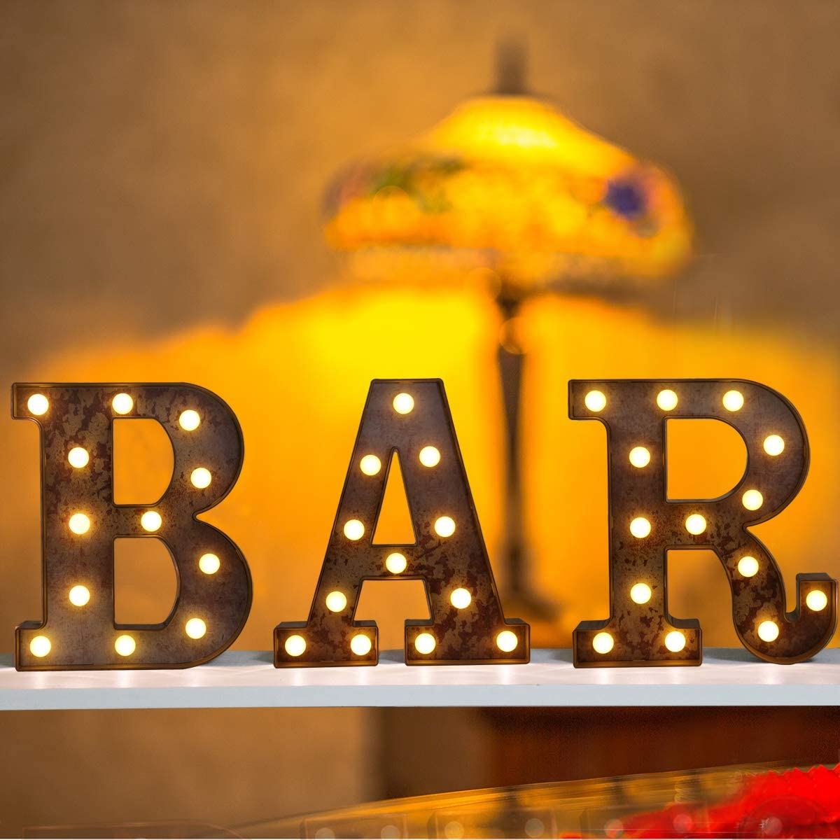 Elnsivo Vintage Marquee Bar Letters with Lights, Illuminated Bar Signs Industrial Style Lighted Alphabet Bar Sign Night Lights for Bar, Pub, Bistro, Party, Wall Decor(Rust Effect Battery Power BAR)
