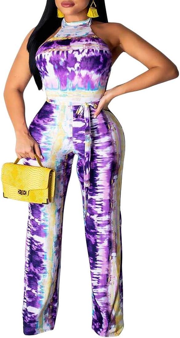 pujingge Women Dye Tie Halter Neck High Waist Wide Leg Jumpsuit with Belt