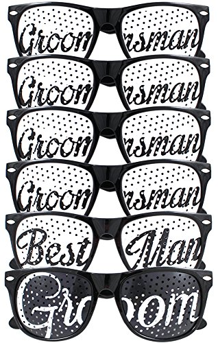 Groom, Best Man, & Groomsmen Party Favours - Bachelor Party & Wedding - Party Sunglasses Kit - Set of 6 Pairs - Themed Novelty Glasses for Ridiculous Fun & Classic Photos (6pcs, Black)
