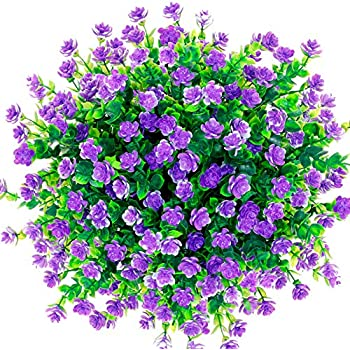 CQURE Artificial Flowers, Fake Flowers Artificial Greenery UV Resistant Outdoor Plants Eucalyptus Faux Plastic Shrubs Outside for Home Garden Porch Party Wedding Decoration 5 Bunches (Purple)