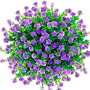 CQURE Artificial Flowers, Fake Flowers Artificial Greenery UV Resistant Plants Eucalyptus Outdoor Bridal Wedding Bouquet for Home Garden Party Wedding Decoration 5 Bunches (Purple) 118