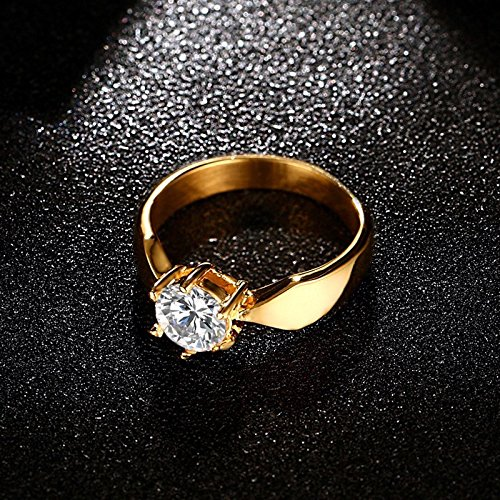 Womens 7mm Gold Plating High Polished Comfort Fit Zircon Claw Ring Wedding Band