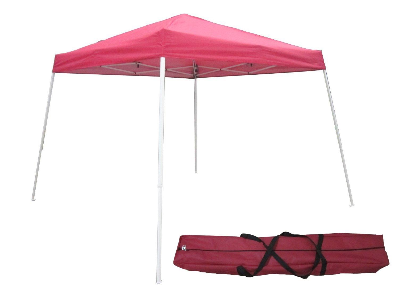 otlive 10 ' x10 ' Commercialキャノピー傾斜角脚簡単ポップアップSun Rain Canopy Shade (レッド) B01DVM84B0