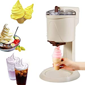 UPANV Soft Serve Ice Cream Machine, Fully Automatic Mini Fruit Soft Serve Ice Cream Machine, Healthy, Simple One Push Operation, for Home DIY Kitchen