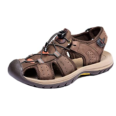 e4ad13ee870a Mens Plus Size Closed Toe Sports Hiking Summer Sandals Flat Beach Shoes  Genuine Leather