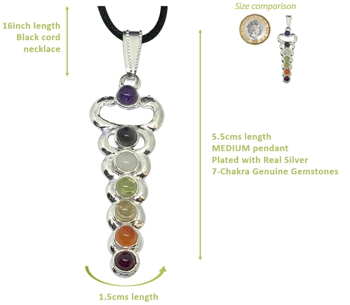 BellaMira Chakra - Necklace Pendulum - Genuine Rose Quartz Amethyst Crystal Quartz Meditation Yoga Spiritual Reiki Gift Boxed Jq6Sap