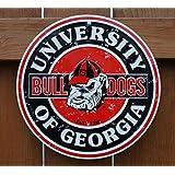 Georgia Bulldogs 12 Inch Embossed Metal Nostalgia Circular Sign