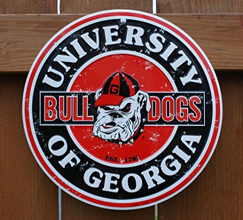 (Tag City Georgia Bulldogs 12 Inch Embossed Metal Nostalgia Circular Sign)