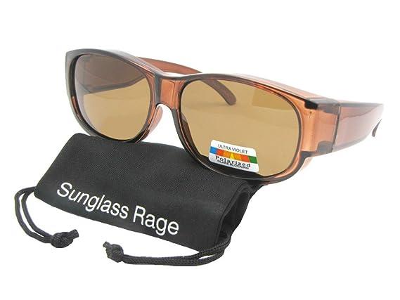 672b771d3f Amazon.com  Style F26 Round Rectangular Polarized Fit Over Sunglasses With Sunglass  Rage Pouch (Black Frame-Medium Dark Gray Lenses