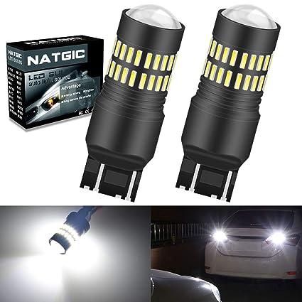 NATGIC 2PCS 7443 Bombillas LED Xenón blanco 1200lm 48 SMD 4014 ...