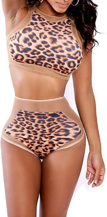 191460311eff7 Leopard Print Bikini Top and High Waist Bottom Set (Medium, Multi)