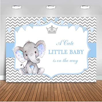 Amazon.com : Mocsicka Boy Elephant Baby Shower Backdrop 7x5ft ...
