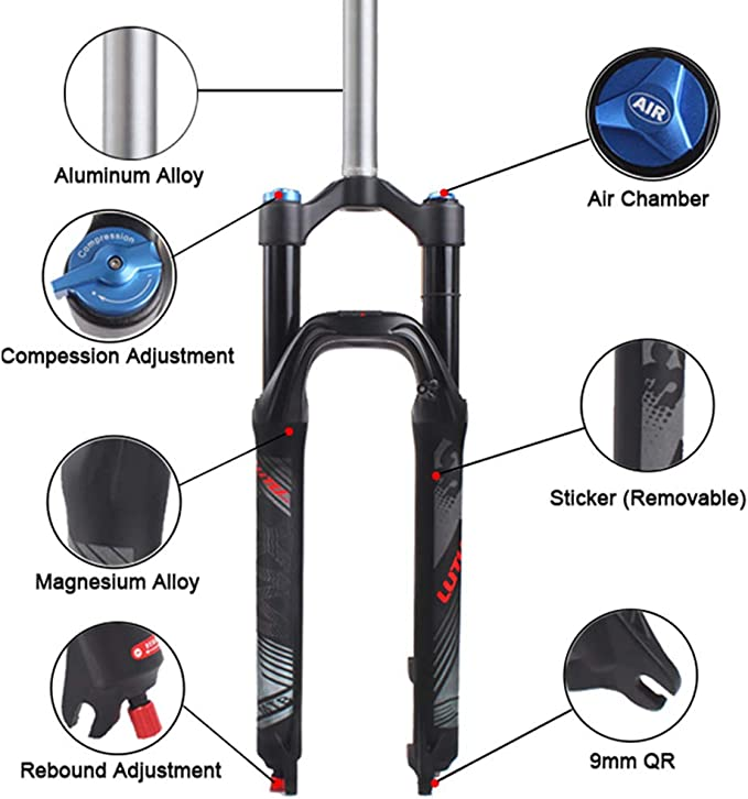 "LUTU MTB Bike 26//27.5//29/"" Suspension Fork 1-1//8/"" Threadless Aluminium PM 180mm"