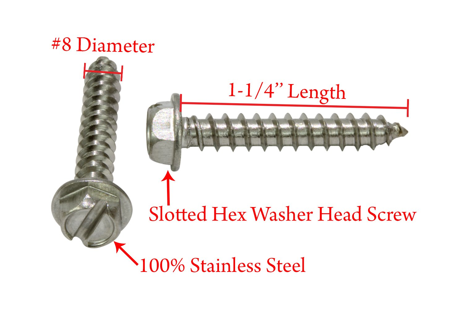 18-8 Stainless Steel Screw by Bolt Dropper 25 pc #12 X 2 Stainless Slotted Hex Washer Head Screw, 304