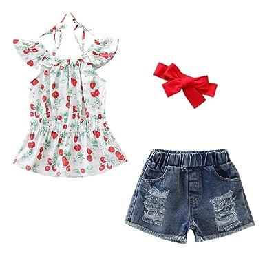 599c4bf7b Amazon.com: Cuekondy Toddler Kids Baby Girls Cherry Print Tops  T-shirt+Denim Shorts+Headband 2019 Fashion Summer Outfits Clothes: Clothing