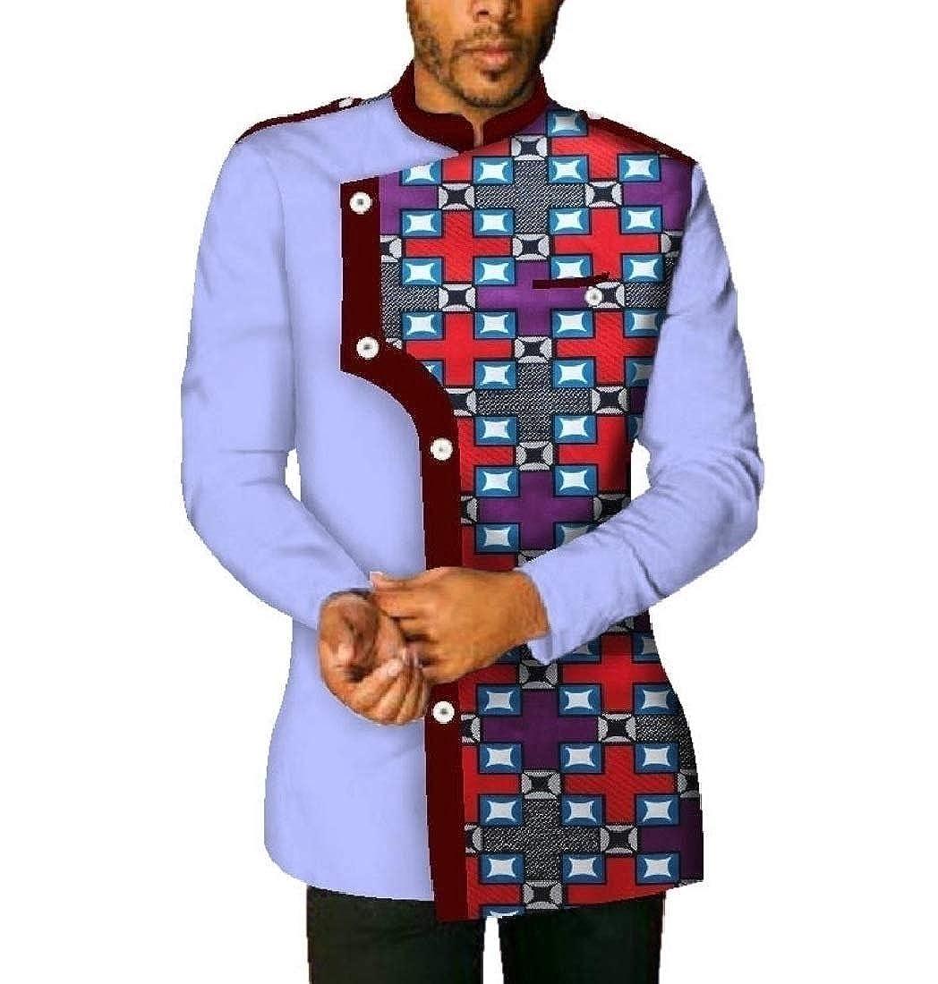 Winwinus Men Dashiki Graphic Mao Collar Tops Batik Plus Size Stylish Shirt