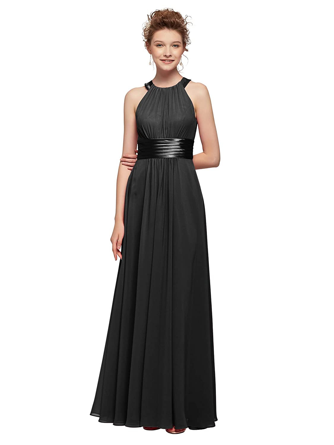 b2f9cad252939 AW Bridal Women's Long Bridesmaid Dresses Jewel Neck Prom Dresses Modest  Chiffon Evening Formal Dresses