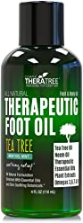 Foot Oil with Tea Tree Oil, Neem Oil, and Menthol Mint - Helps Fight Common Causes of Skin Irritation and Foot Odor - by Oleavine TheraTree