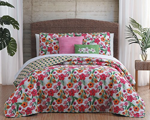 Avondale Manor Kailua 5 Piece Quilt Set, King, Pink/Yellow ()