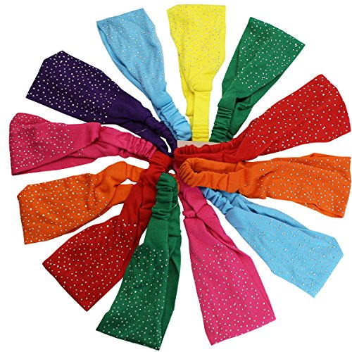 Set of 12 Fun Colored Wide Headbands by CoverYourHair (12 Silver Studded Headbands)