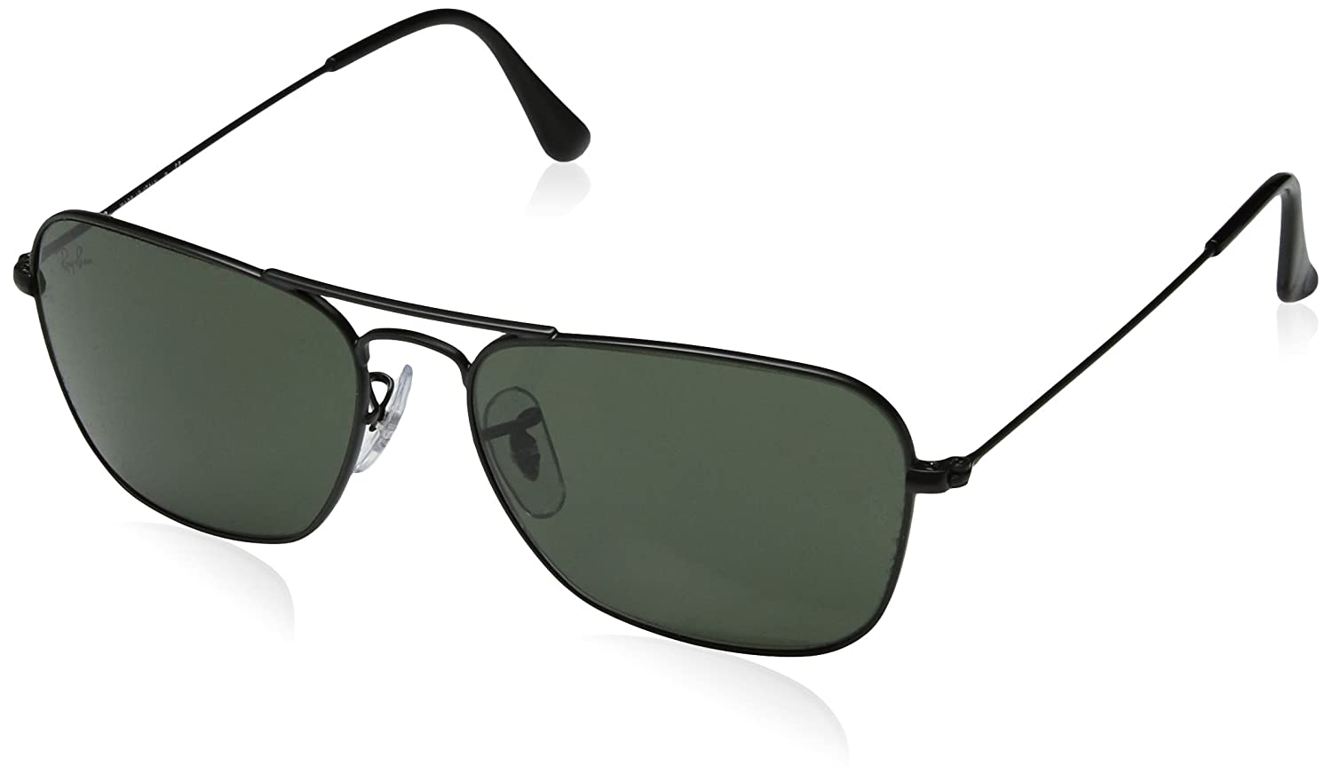 b22d3cc6dd9 Amazon.com  Ray-Ban Men s Caravan Rectangular Sunglasses MATTE BLACK 55 mm   Clothing