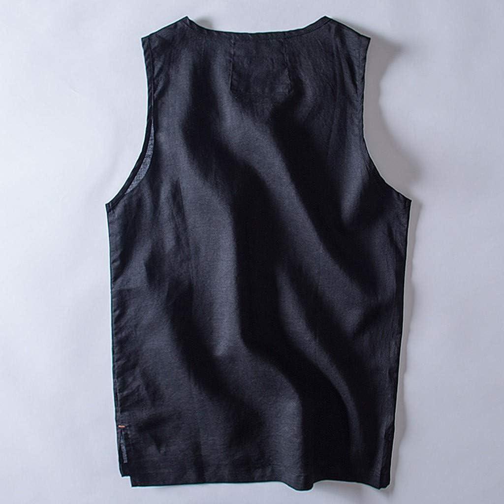 Benficial Mens Baggy Cotton Linen Solid Pocket Sleeveless O-Neck Vest Tank Tops Blouses 2019 Summer