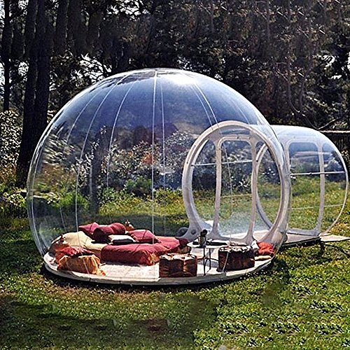 HUKOER luxurious Outdoor Single Tunnel Inflatable Bubble Tent Family Camping Backyard Transparent ()