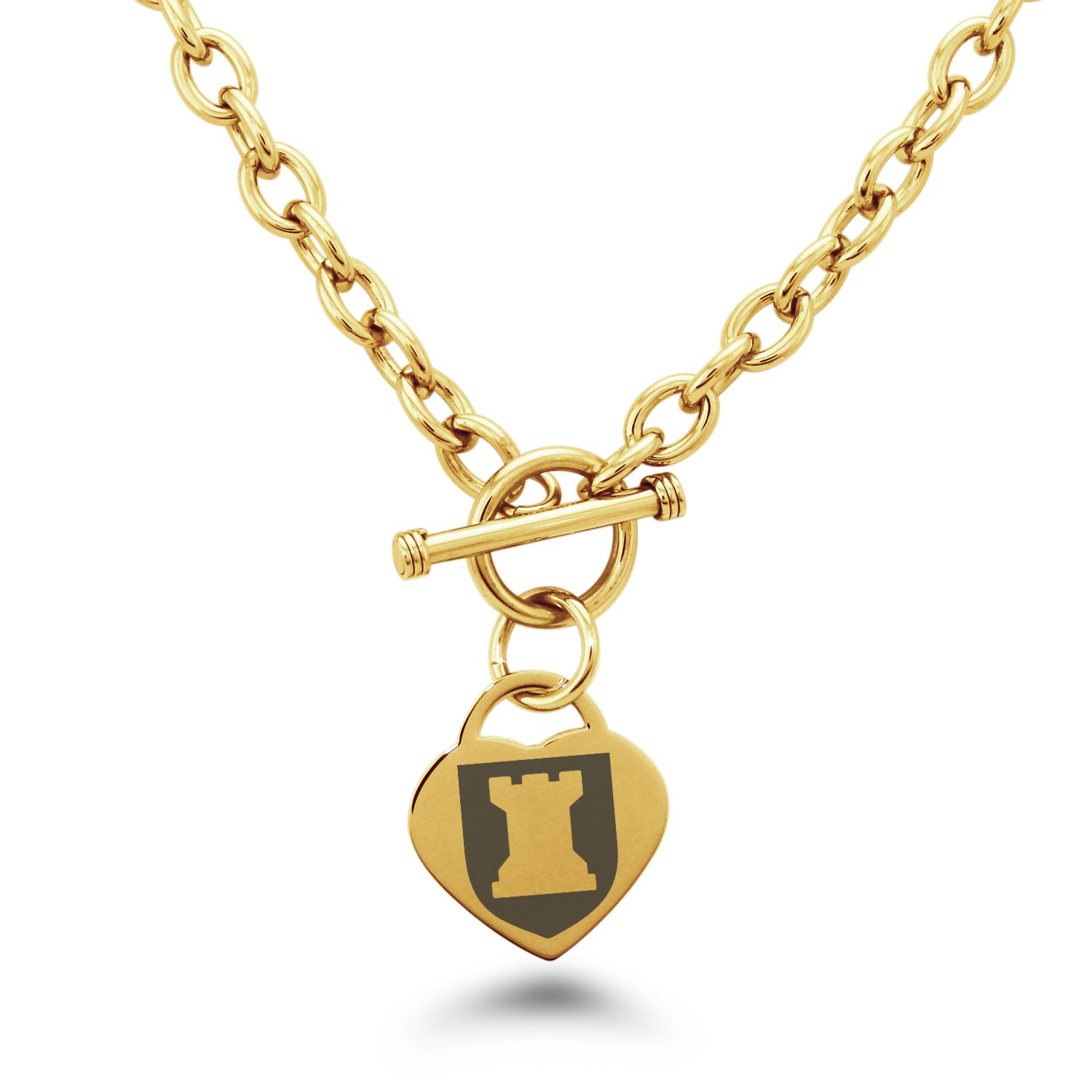 Tioneer Gold Plated Stainless Steel Rook Strategy Coat of Arms Shield Symbols Heart Charm, Necklace Only