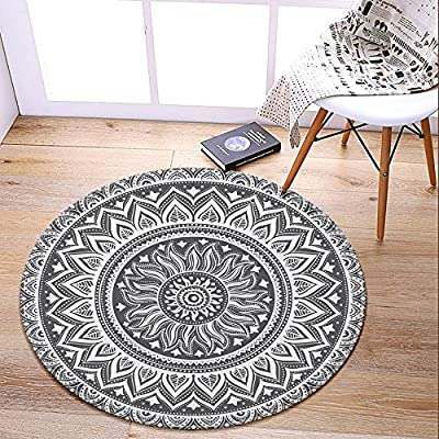 LEEVAN Modern?No-Shedding Non-Slip Machine Washable Round Area Rug Living Room Bedroom Bathroom Kitchen Soft Carpet Floor Mat Home Decor 3-Feet Diameter