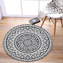 LEEVAN Modern Flannel Microfiber Non-Slip Machine Washable Round Area Rug Living Room Bedroom Study Soft Carpet Floor Mat Home Decor 3-Feet Diameter - Grey Mandala