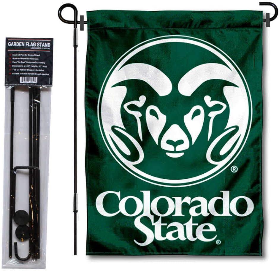 Colorado State University Garden Flag and USA Flag Stand Pole Holder Set