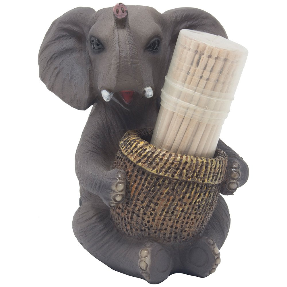 Decorative Lucky Elephant Toothpick Holder Figurine with Faux Wicker Basket of Wooden Toothpicks for African Jungle Safari Decor Statuettes & Sculptures Featuring Zoo Animals As Unique Novelty Gifts by Home 'n Gifts