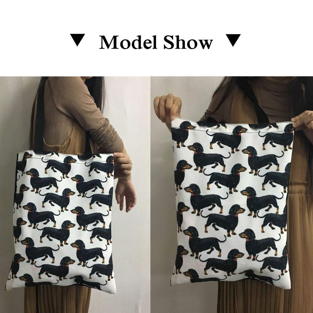 Upetstory Canvas Tote Bag Lovely Cat Animal Print Handbag for College Girls Women Shopping Beach Travel Bag by Upetstory (Image #2)