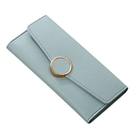 e7b0550df Women's Solid Color PU Leather Bifold Long Purse ID Cards Holder Cash  Organizer Covered Envelope Wallet