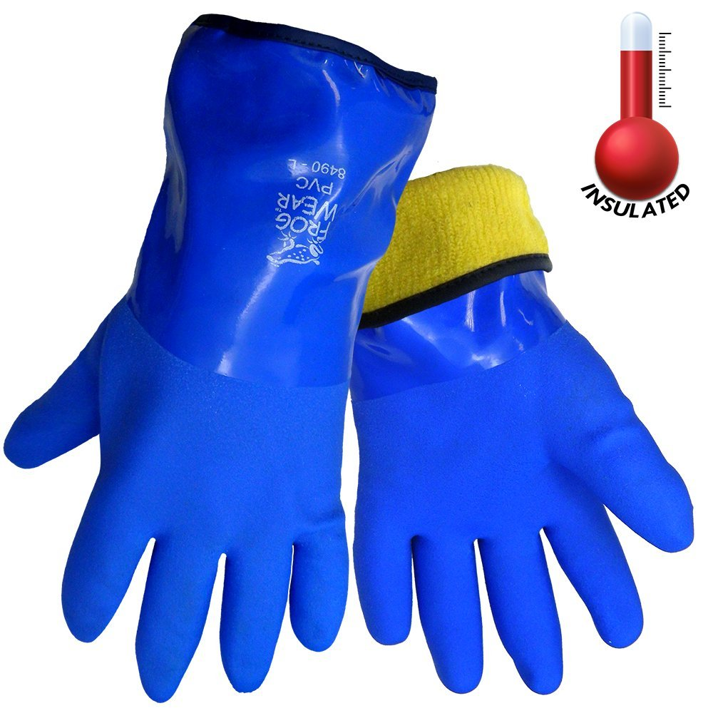 FrogWear 8490 Insulated & Waterproof Blue Tripple Dipped Work Gloves, Ultra Flexible, Chemical and Oil Resistant, Sizes M-XL (1 Pair) (Medium)