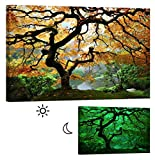 LightFairy Glow in the Dark Canvas Painting - Stretched and Framed Giclee Maple Tree Wall Art Print for Master Bedroom Rustic Living Room Decor - Glowing Minimum 6 Hours - 46 x 32 Inch