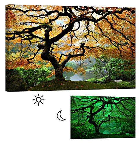 LightFairy Glow in the Dark Canvas Painting - Stretched and Framed Giclee Maple Tree Wall Art Print for Master Bedroom Rustic Living Room Decor - Glowing Minimum 6 Hours - 46 x 32 Inch by LightFairy