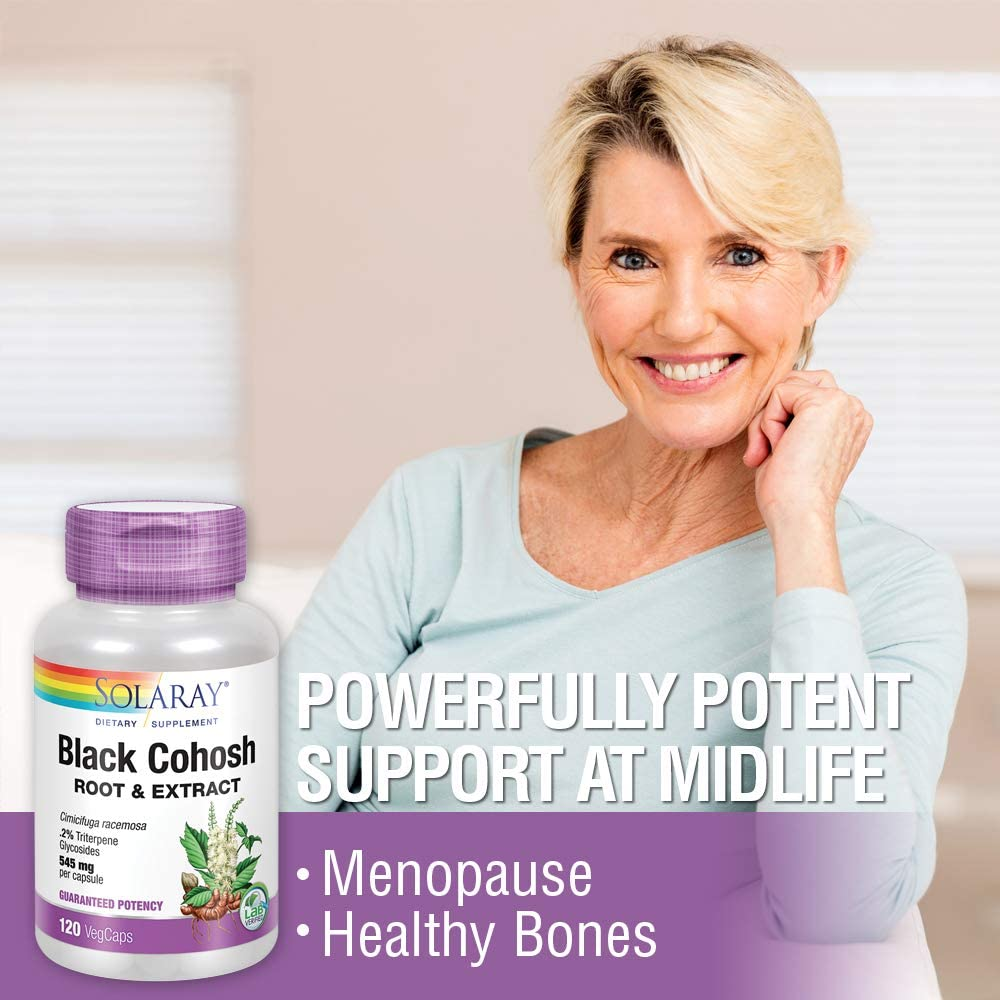 Solaray Black Cohosh Root & Extract 545mg   Womens Health & Menopause Support Supplement   Non-GMO   120 VegCaps: Health & Personal Care