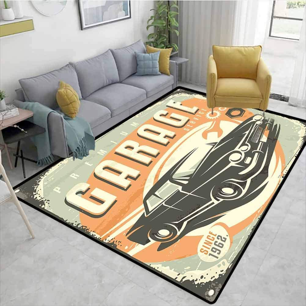 Man Cave Decor ikat Area Rug Entryway, Promotional Retro Design Auto Mechanic Car Service Concept Nostalgic Vehicle, Durable Rugs - Living, Dinning, Office, Rooms & Bedrrom, Hallway Carpet(2'x 3')