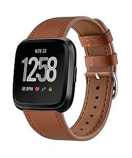 TopTen 10principales Cuir Sports Poignet Bracelet Sangle de Remplacement Accessoires Bracelet Bracelet de Montre pour Fitbit Versa Santé et Fitness Montre Intelligente, Marron