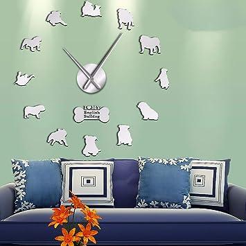 LLLYZZ Bulldog Inglés Decoración para El Hogar Reloj De Pared Bulldog Británico Siluetas Arte De La