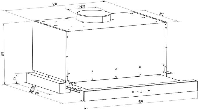 Klarstein Vinea Campana extractora de bajo mueble - Vidrio de seguridad, 60 cm ancho, Extraíble, 610 m³/h máx. extracción humo, iluminación, Filtro de grasa, Clase Energética A, Plata: Amazon.es: Grandes electrodomésticos