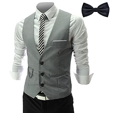 the latest ca4b6 f4067 YaoDgFa Herren Weste Anzug + Fliege Smoking Sakko Anzugweste Herrenweste  Herrenanzug slim fit Hochzeit feierlich Elegant