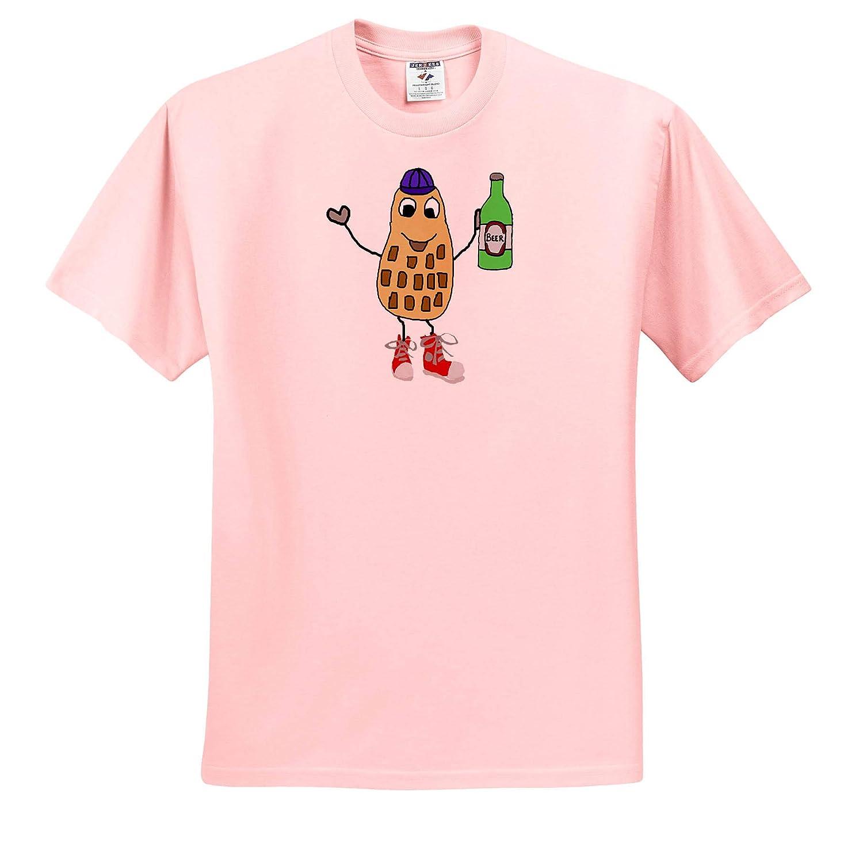Adult T-Shirt XL Funny Cute Peanut Man Drinking Beer Cartoon 3dRose All Smiles Art Funny ts/_319337