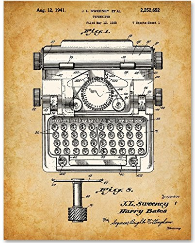 Typewriter Office Art - 11x14 Unframed Patent Print - Great Gift for - Uk Buy Typewriter