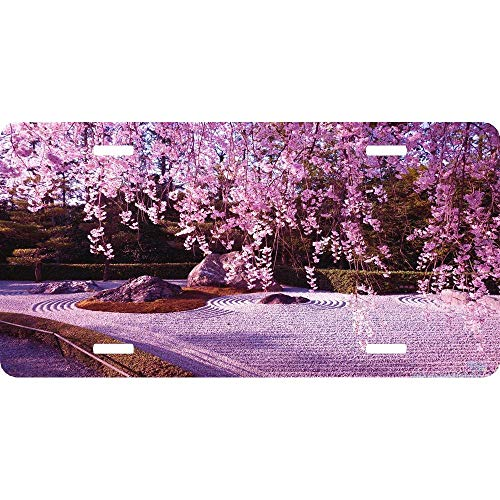Japanese Garden Cherry Blossom Sakura Tree Front License Plate Cover Novelty Auto Car Tag Sign Vanity Gift 4 Holes (12 X 6 inches) ()