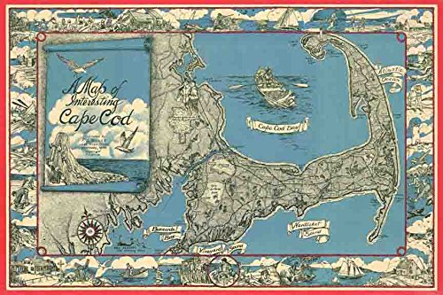1945 Miller Map of Cape Cod 24x36 Giclee 12 Color Art Print