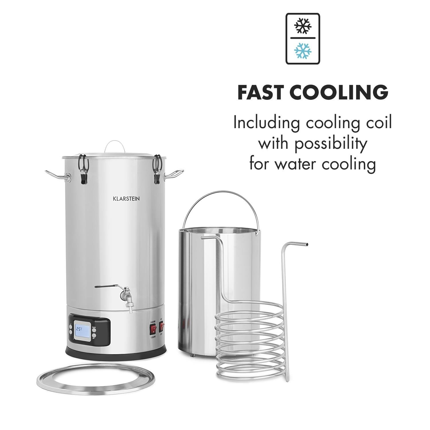 Klarstein Maischfest • Beer Brewing Device • Mash Tun • 5-Piece Set • 1500 and 3000 Watts Power • 25-litre Capacity • LCD Display and Touch Control Panel • Temperature • Stainless Steel by KLARSTEIN (Image #6)