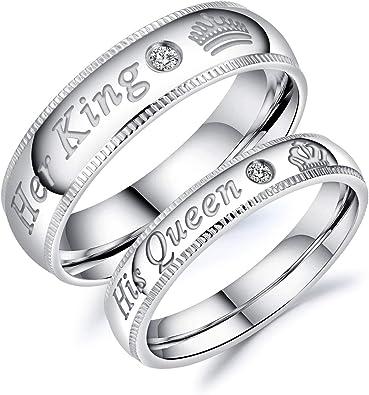 Amazon.com: Fate Love Jewelry - Juego de alianzas de acero ...