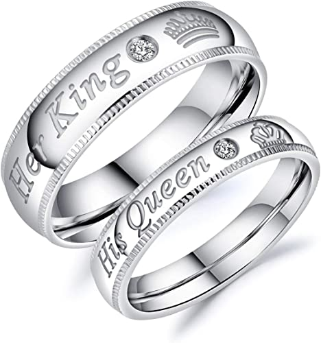 Fate Love Jewelry Stainless Steel His Queen Her King Wedding